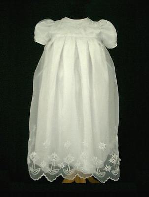 Infant Baby Girls Baptism Christening Gown & Bonnet Dresses - Size 000 00 0