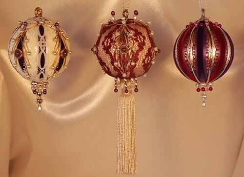 Victorian Style Christmas Tree Ornaments - Purple and Burgundy Set of Three