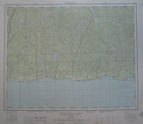 1963 Topo Map MANITOU LAKE Quebec Canada Sheldrake Magpie St. Lawrence River RR
