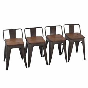 Outstanding Details About 4 18 Metal Steel Bar Stools Counter Barstool Chair Wooden Seat Low Back Rusty Frankydiablos Diy Chair Ideas Frankydiabloscom