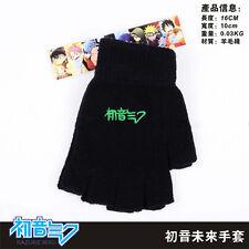 Anime Hatsune Miku Half Finger Plush knit Gloves Winter Cosplay Man Woman Gifts