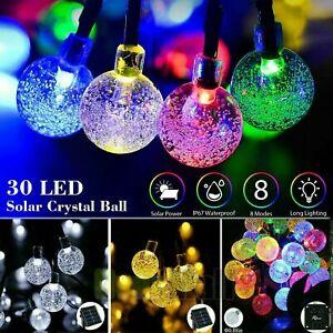 20ft 30 LED Solar String Lights Crystal Ball Outdoor Waterproof Garden Decor