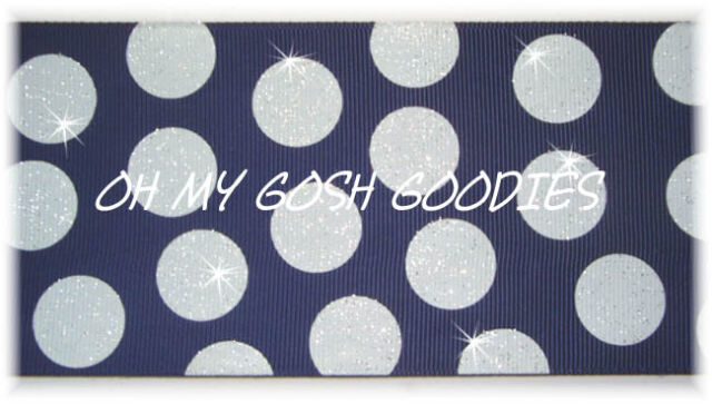 "3"" GLITTER JUMBO CHEER TEAM DOTS NAVY WHITE GROSGRAIN RIBBON 4 HAIRBOW BOW"