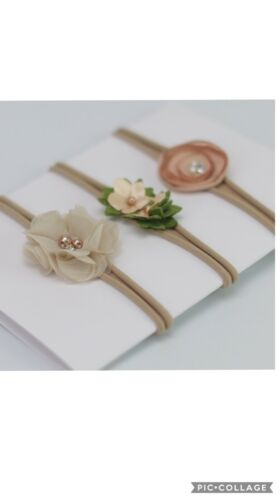 New x 3 Beige infant baby headbands flower creme pearls beads jersey stretch