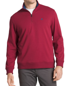 Izod Sweatshirt Mens Large TALL Red Authentic Stretch Quarter Zip Pullover