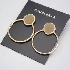 BAUBLEBAR-SIGNED-JEWELRY-GOLD-TONE-POST-STUD-EARRINGS-HOOP-DROP-DANGLE-FOR-WOMEN