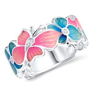 Beauteous-Schmetterling-Blume-Diamant-Bunt-Emaille-Ring-Damen-Hochzeit