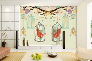 3D Red Birds Cages 732 Wall Paper Murals Wall Print Wall Wallpaper Mural AU Kyra