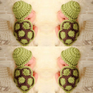 Lovely Baby Newborn Turtle Knit Crochet Clothes Beanie Hat Outfit Photo Prop Set