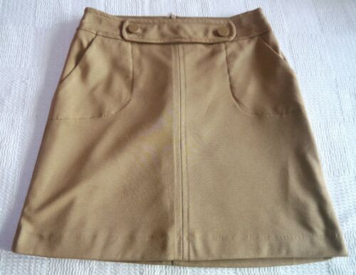 Womens Mini Skirt Size 10 12 New Ladies Camel Brown 2 Button dtl soft feel lined
