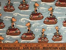 VTG Cotton Quilt Fabric Noah's Ark BTHY