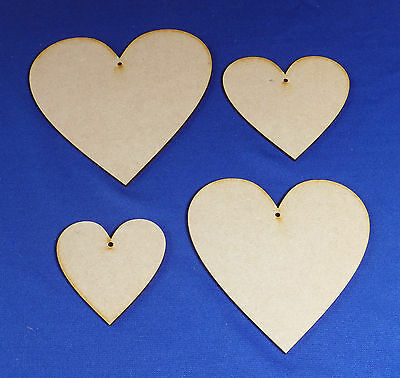 Wooden MDF Hearts Craft Shapes  7.5cm 10cm 12.5cm 15cm x 3mm thick