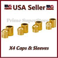 4 Gold Metal Valve Stem Caps Motorcycle Car Bike Suv Tire Air Cover Cap