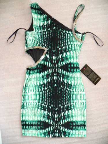 NWT bebe green print silver stud sequin side cutout bodycon top dress L large