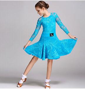 2018 Childrens Latin Salsa Ballroom Dance Dress Girls Dancewear