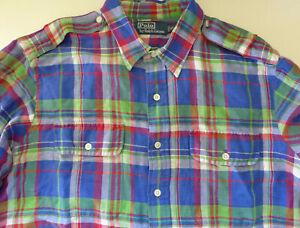 Mens-Polo-Ralph-Lauren-L-S-Button-Front-Multicolor-Plaid-Shirt-2pockets-Size-XL