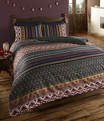 NEW LUXURY INDIAN ETHNIC PRINT SINGLE BED DUVET QUILT COVER BEDDING SET - ORKNEY