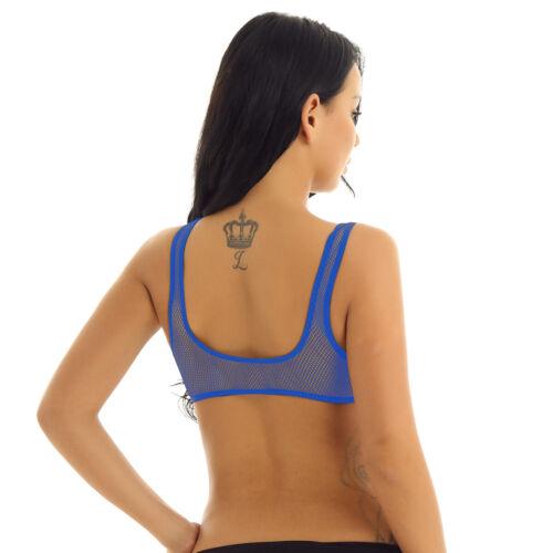 Women Casual Sleeveless Fishnet Crop Top Blouse Mesh Sheer Cami Tank Vest Club