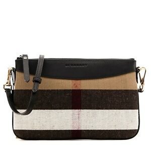 Image is loading Burberry-Crossbody-Peyton-Canvas-Check-Black-New 4c2961fe1c3f5