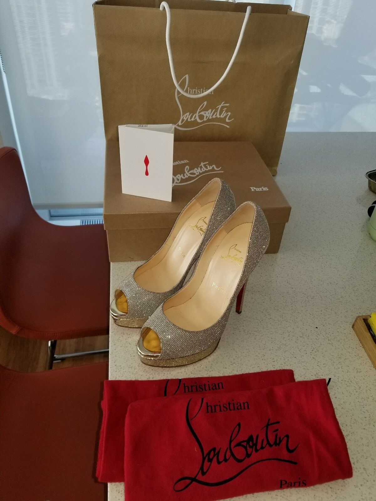 Christian Louboutin Lady Lady Lady Peep gold  shoes Sz 38 (7.5) 6  heels, with box & bag d494a4