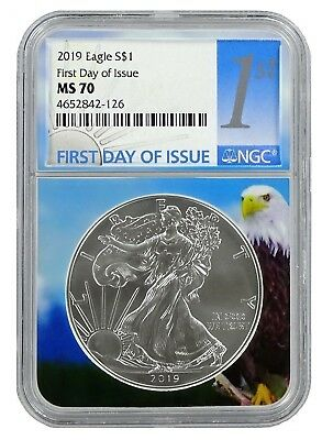 1 of 1000-2 Pack 2019 1oz Silver Eagle PCGS MS69 First Day Issue