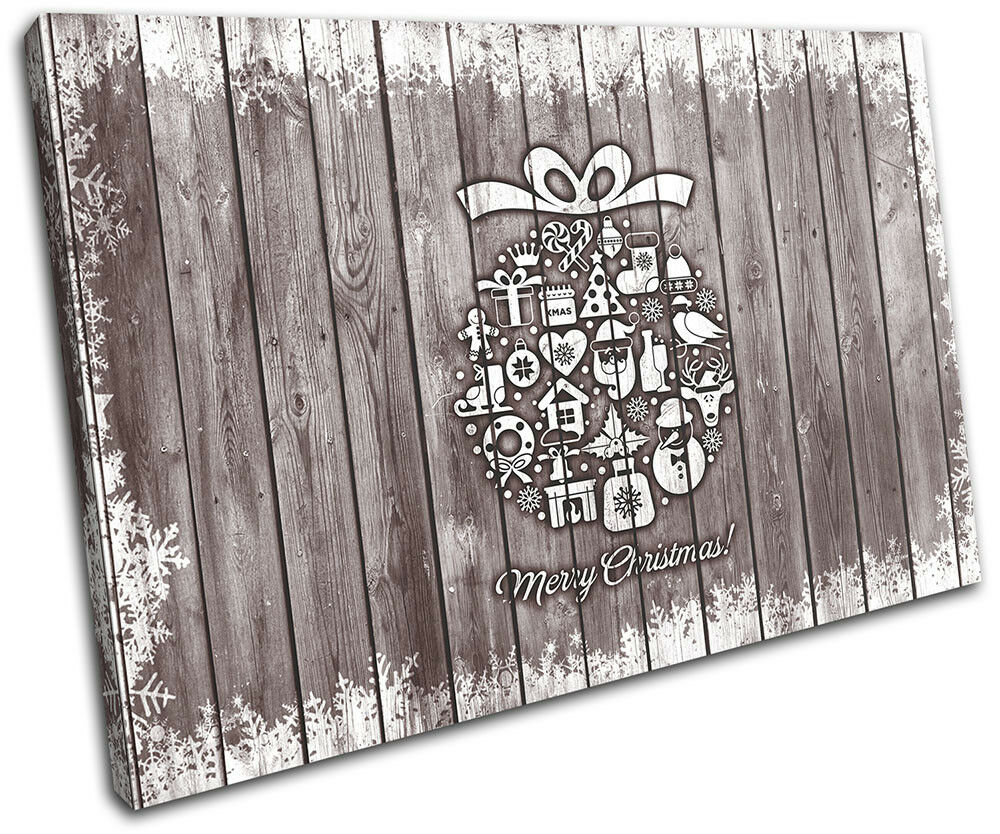 Christmas Decoration Wall Canvas ART Print XMAS Picture Gift Wood 02 braun Chris
