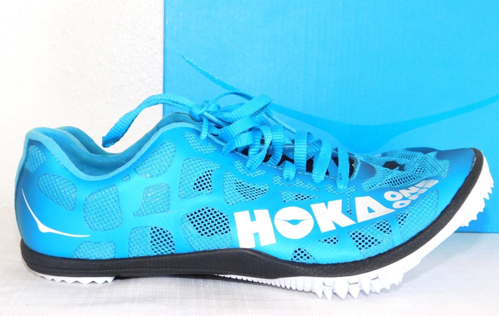 NEW WOMENS SIZE 10 HOKA ONE ONE ROCKET MD SPIKES WHITE CYAN TRACK RUNNING SHOES