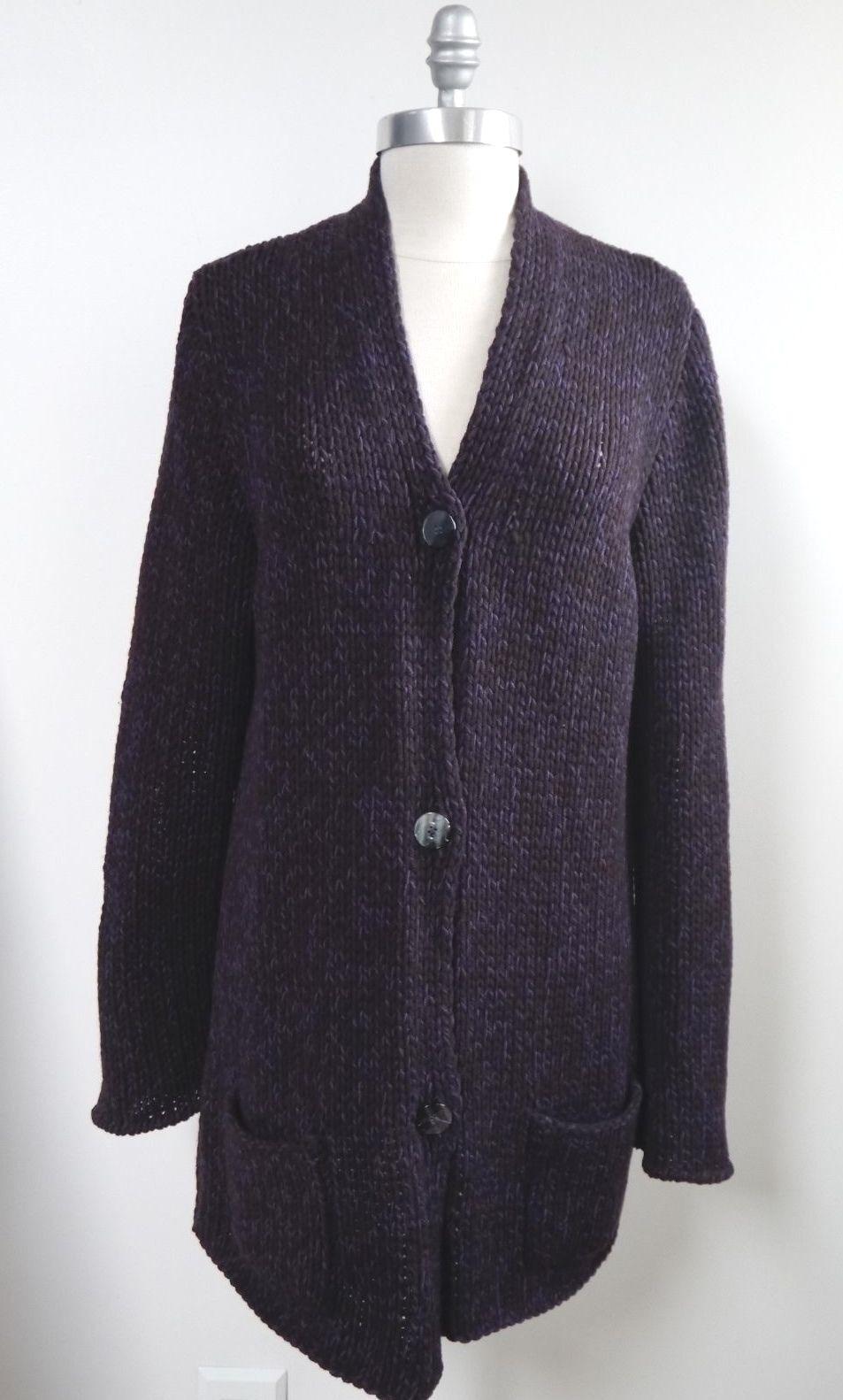 RIVAMONTI by Brunello Cucinelli chunky wool silk blend long cardigan sweater XL