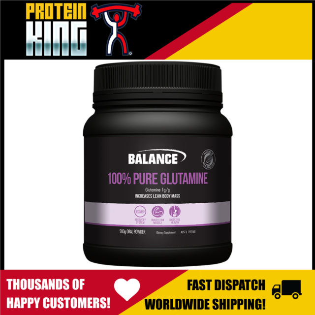 BALANCE 100% PURE GLUTAMINE 500G UNFLAVOURED POWDER FOR OPTIMUM MUSCLE RECOVERY