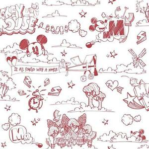 Disney Mickey Mouse Pattern Pencil Cartoon Childrens Wallpaper Roll