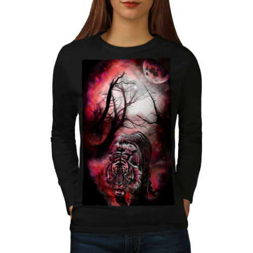 Tiger Red Moon Animal Women Long Manche T-shirt Newwellcoda