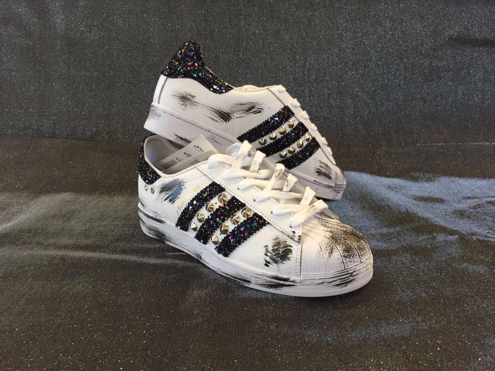 Schuhe adidas superstar con argento glitter blu sporcatura nera e borchie argento con + swar f98a4a