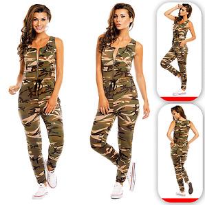 Damen Overall Camouflage Jumpsuite Catsuite Ärmellos Einteiler Army Military