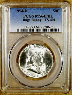 100/% White 1954-D PCGS MS65 FBL Franklin Half Dollar