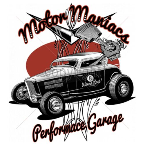 T Shirt im Braunton mit Hot Rod-,US Car-,`50 Stylemotiv Modell Motor Maniac