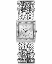 GUESS Women's U0140L1 Pearl Embellished Silver-Tone Bracelet Watch