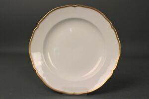 Dining-Plate-KPM-English-Smooth-Gold-Decor-White-Gold-Rim-Gut-Condition-9-5-8in