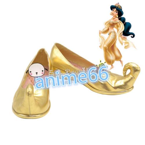 Princess Jasmine Cosplay Shoes Boots Gold shoes FF.820 NEW Aladdin Disney film