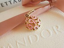 Authentic Pandora 14ct Gold Enamel Pink Breast Cancer Charm Pendant 350176EN24