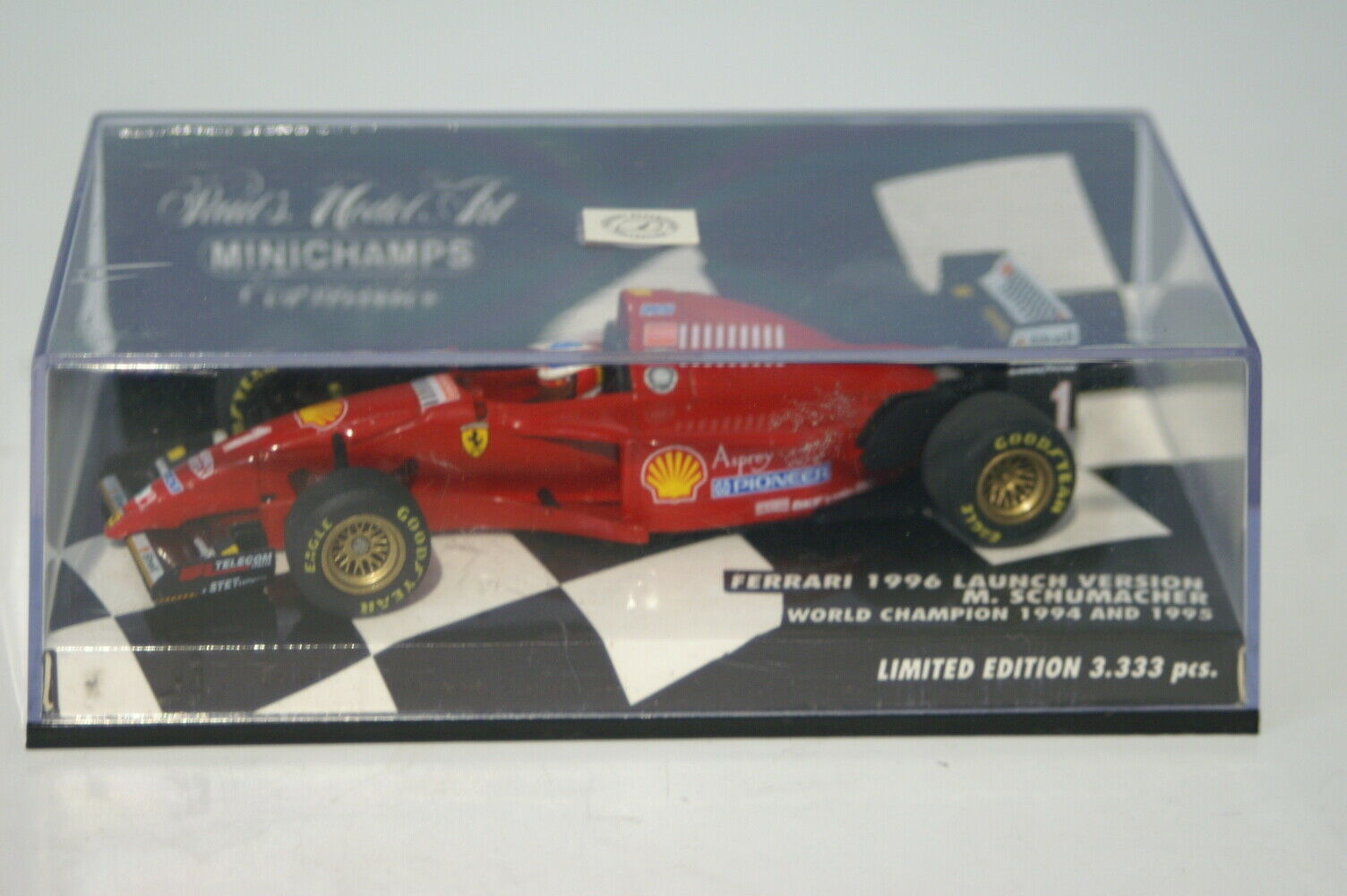 MINICHAMPS FERRARI 1996 lancement M. SCHUMACHER world champion 510 964391 1 43 Di...