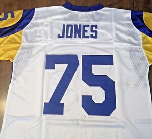 brand new 82495 09b09 Details about LA RAMS #75 DEACON JONES WHITE THROWBACK JERSEY SIZE 48 LOS  ANGELES RAMS