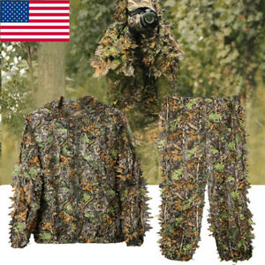 Mens-Hunting-Ghillie-Suit-3D-Camo-Bionic-Leaf-Camouflage-Jungle-Woodland-Outfits