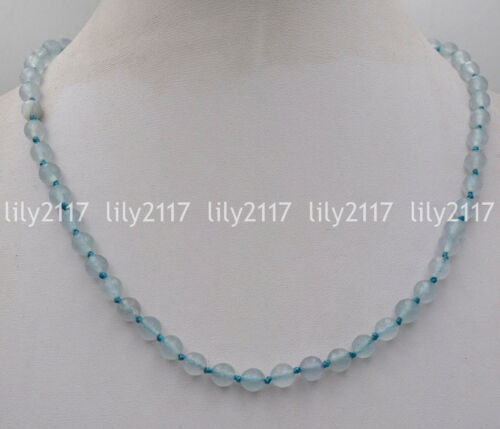 """Beautiful Natural 8mm Faceted blue Aquamarine Gemstone beads necklace 18/"""" AAA"""