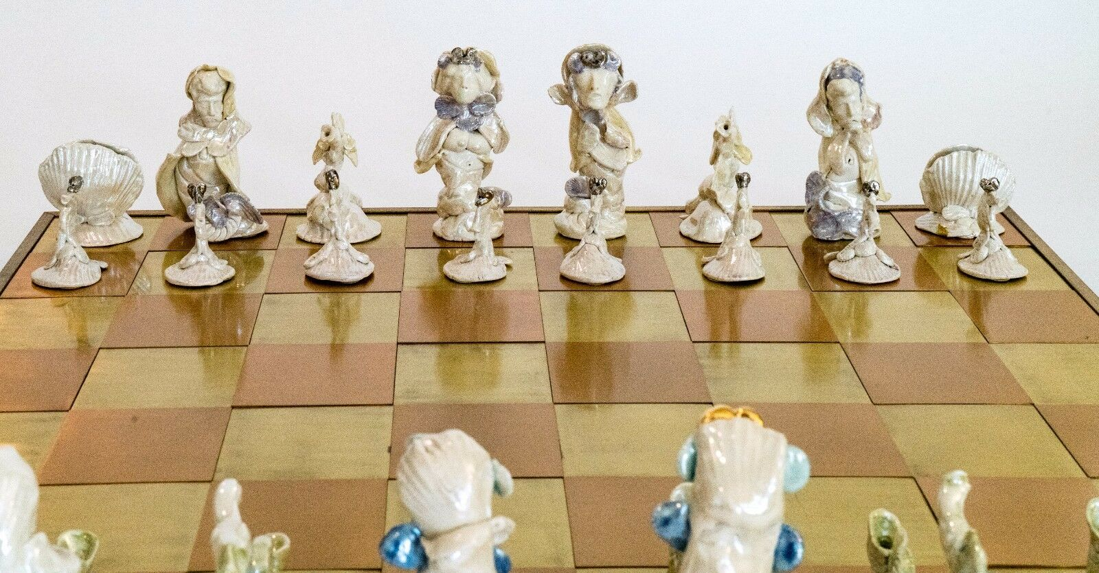 Hand Sculpted Ceramic Chess Set - 32 pieces + + + Brass Copper Board (One of a kind) f14c1a