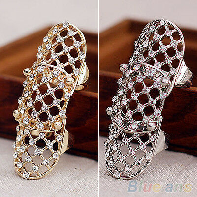 Fashion Trendy Alloy Hollow Personalized Rhinestone Finger Knuckle Joint Ring