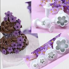 4Pcs Flower Cake Plunger Plum Blossom Fondant Cutter Decorating Mould Tool Set