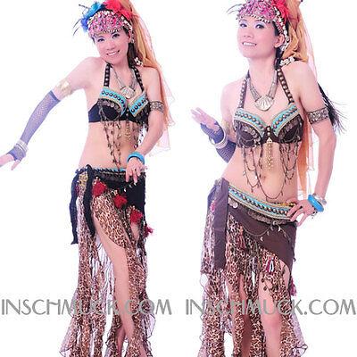 C91930 Danza Del Ventre Costume 2 Pezzi Reggiseno Cintura Tribal-
