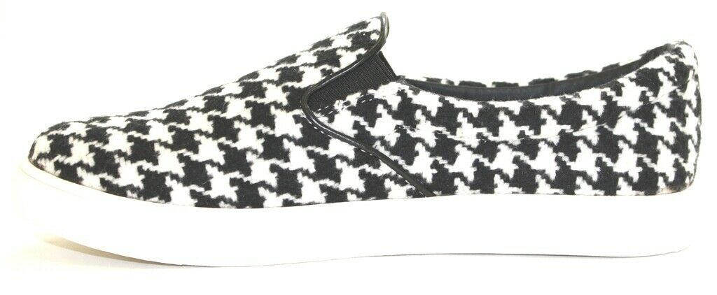 Women's Steve Madden Elefant Fashion Sneaker Sneaker Sneaker Slip On Black White Houndstooth 340af4