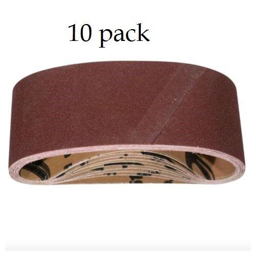 Powertec 3x18 inch 80 Grit Aluminum Oxide 10 Pack Sanding Sandpaper Sander Belt