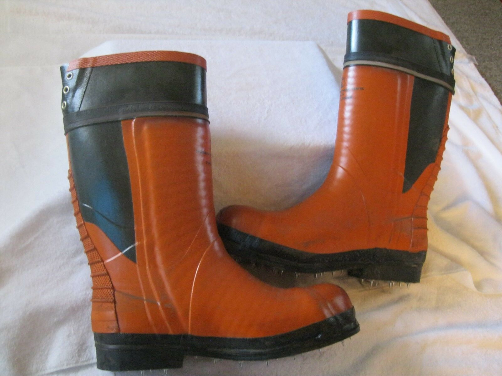 RARE Mens Harvik Logger Chain Saw Resistance, Grade 1 Champ Spiked Boots, SZ 9